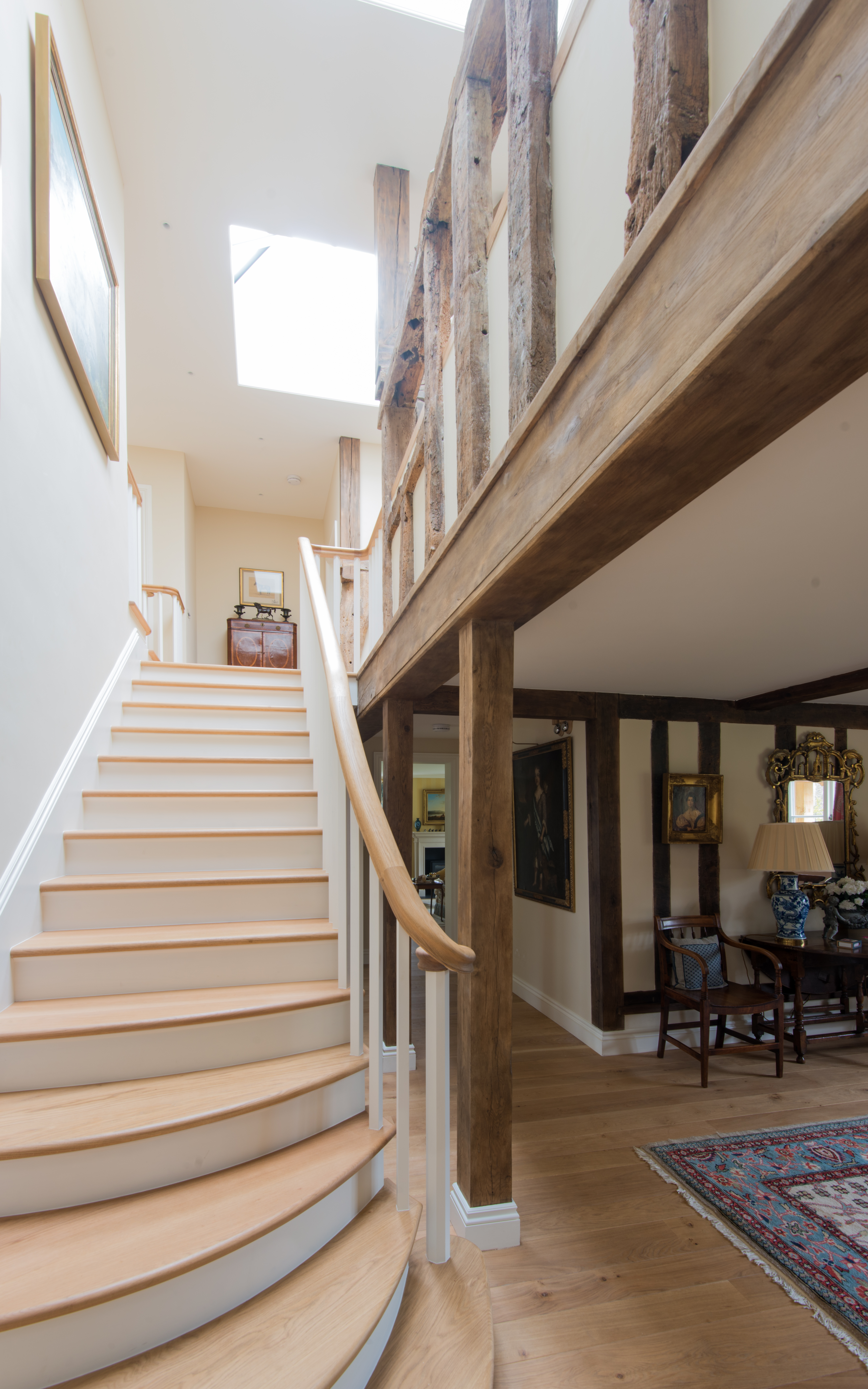 Internal Stairs with curved Oak Handrail and Oak treads in Denston, Newmarket, Suffolk