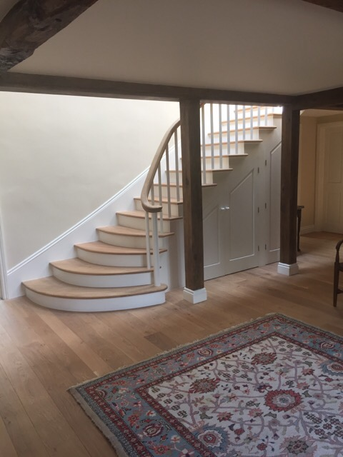 Internal Stairs with hand carved Oak Handrail and curved Oak treads in Denston, Newmarket, Suffolk Stairs - Joiners, Sudbury, Suffolk - Precision Made Joinery