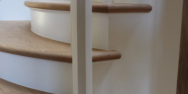 Internal Stairs with hand carved Oak Handrail and curved Oak treads in Denston, Newmarket, Suffolk