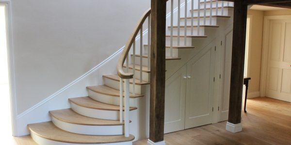 Internal Stairs with curved Oak Handrail in Denston, Newmarket, By Precision Made Joinery in Suffolk