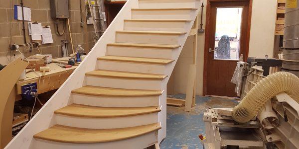 Denston oak Staircase in progress, Suffolk, Precision Made Joinery