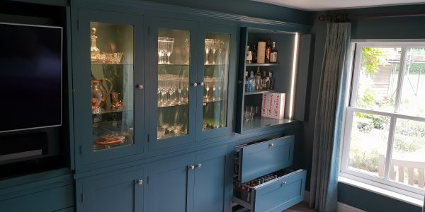 Built in Entertainment Drinks Cabinet, fridge drawers, Nowton, Precision Made Joinery, Suffolk