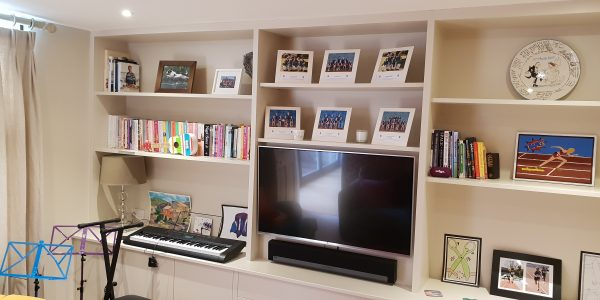 Desk & Shelving in playroom, Built in, push release Precision Made Joinery, Suffolk